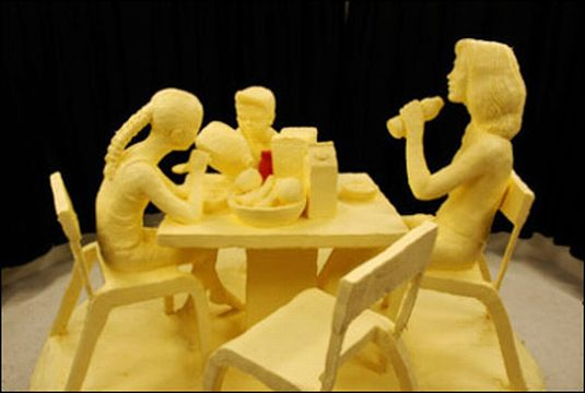 Slippery art: sculptures from butter