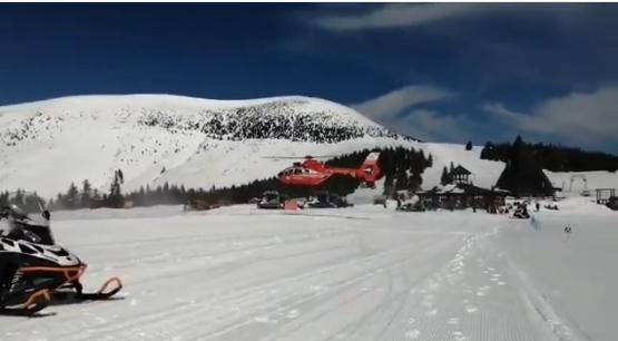 Elicopterul SMURD a intervenit sambata pe o partie din Alba pentru a prelua o femeie grav ranita la schi VIDEO